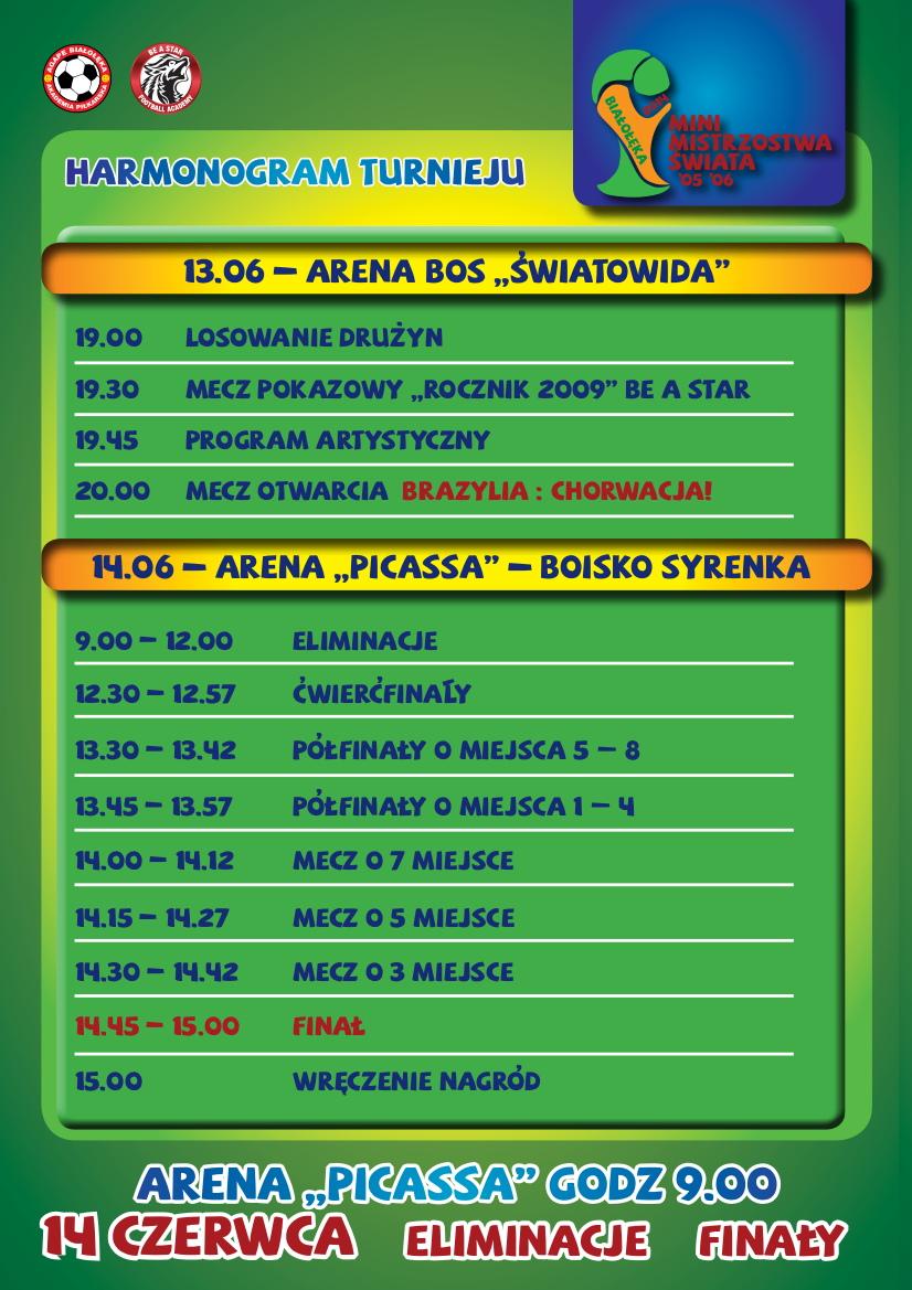 Harmonogram ramowy turnieju Mini Mistrzostwa Świata 2014