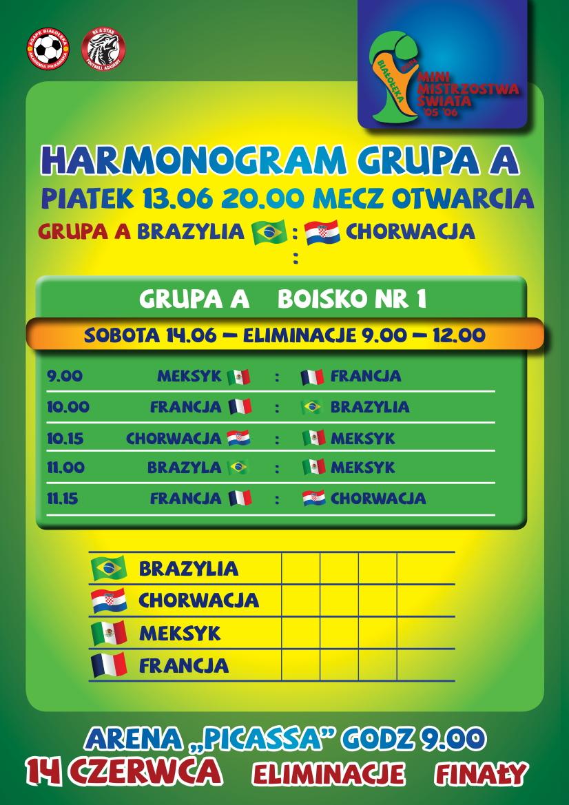 Harmonogram szczegółowy rozgrywek - GRUPY A