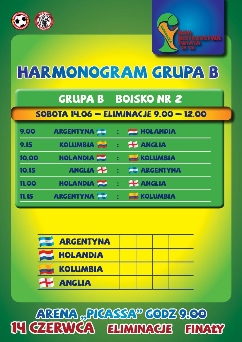 Harmonogram szczegółowy rozgrywek- GRUPA B
