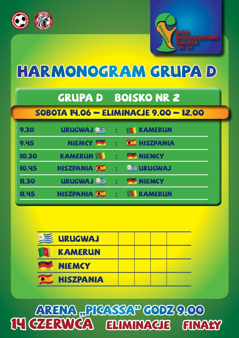 Harmonogram szczegółowy rozgrywek- GRUPA D